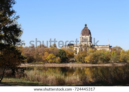 Saskatchewan Legislature building in fall