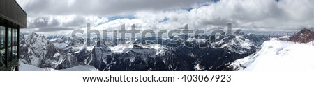 SASS PORDOI, TRENTINO/ITALY - MARCH 26 : View from Sass Pordoi in the Upper Part of Val di Fassa Trentino in Italy on March 26, 2016.