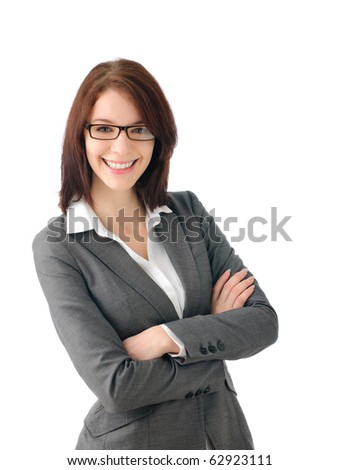 Sassy business woman with glasses - stock photo