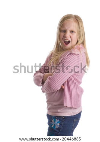 Sassy girl with crossed arms and a disgusted look - stock photo