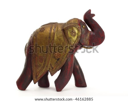 sassy hand carved red elephant with brass armour