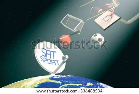 sat dish on top of a world globe, with symbols of various sports falling from the sky, concept of worldwide broadcast (3d render)- Elements of this image furnished by NASA - stock photo
