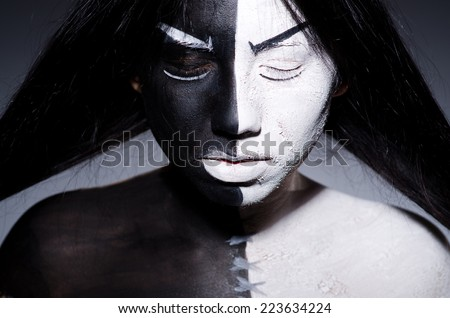 Satan halloween concept with scary woman - stock photo