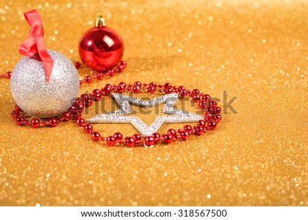 Satanic christmas card with pentagram and decor on glitter background - stock photo