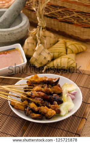 satay traditional malay foods - stock photo