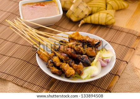 satay , traditional roasted kebab meat skewers - stock photo