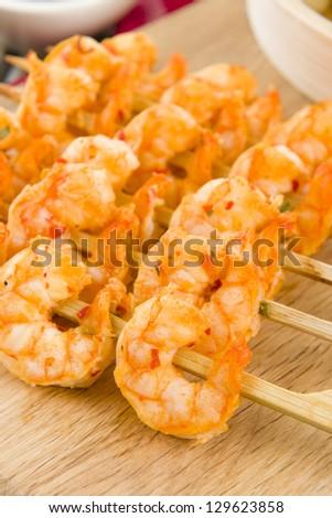 Sate Goong - Thai prawn satays close up. - stock photo