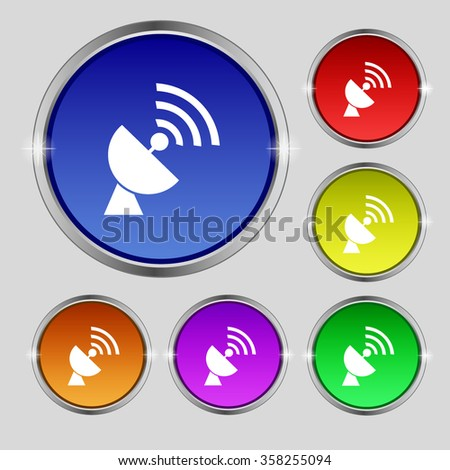 Satellite antenna icon sign. Round symbol on bright colourful buttons. illustration - stock photo