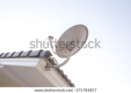 satellite antenna on the roof house