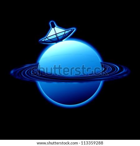 Satellite blue Planet - stock photo