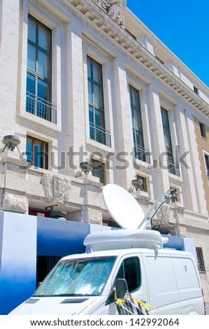 Satellite broadcast van, Rome, Italy - stock photo