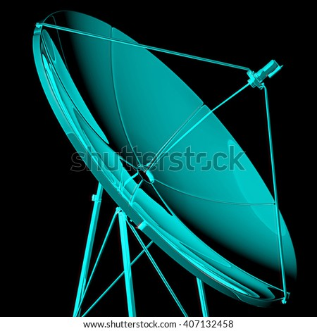 Satellite,. 3D illustration. Anaglyph. View with red/cyan glasses to see in 3D. - stock photo