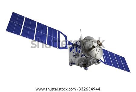 Satellite. 3D Model Over White Background. - stock photo