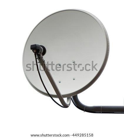 Satellite dish aerial antenna isolated on white background.