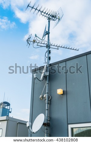 Satellite Dish and Antenna TV - stock photo