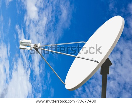 satellite dish and blue sky with clipping path - stock photo