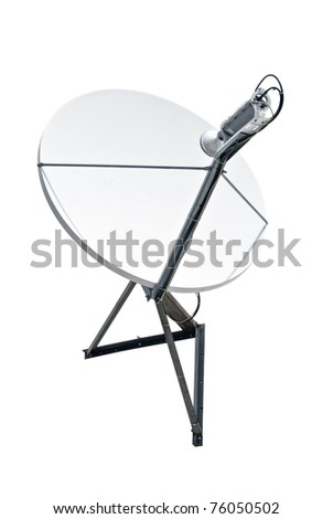satellite dish antenna isolated on white background - stock photo