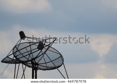 Satellite Dish Antenna on Sky Background