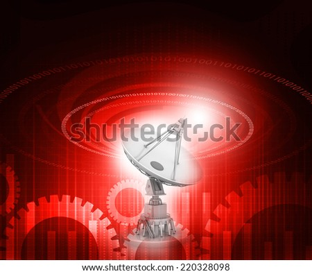 Satellite dish  antenna on tech background, communication concept 	 - stock photo