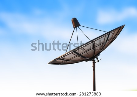 satellite dish antenna radar and blue sky background - stock photo