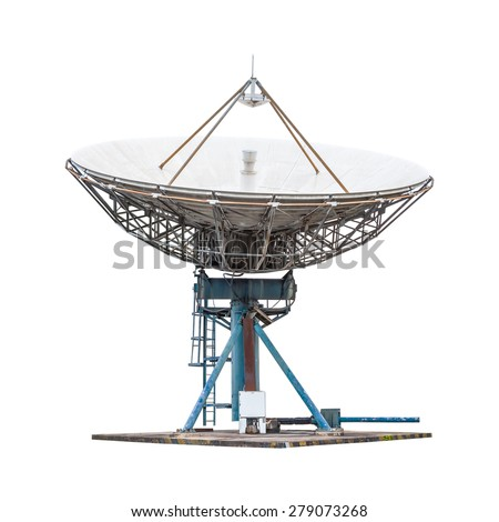 satellite dish antenna radar big size isolated on white background - stock photo