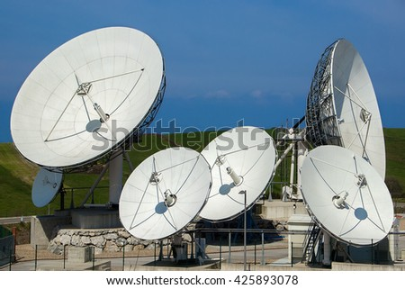 Satellite dish antennas .A few satellite  antennas - stock photo