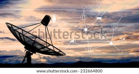 satellite dish antennas on sky - stock photo