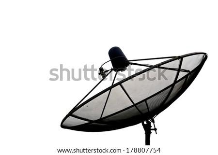 satellite dish antennas, white background - stock photo