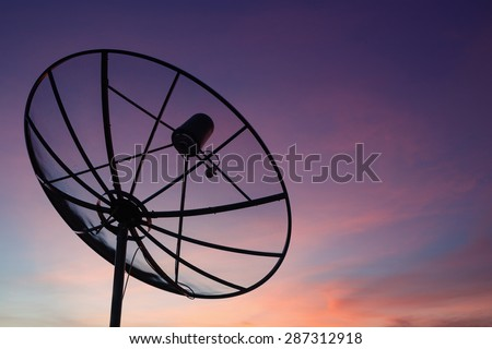 Satellite dish at sky sunset communication technology network - stock photo