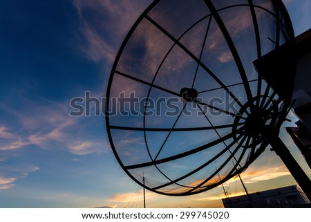 Satellite dish at twilight time