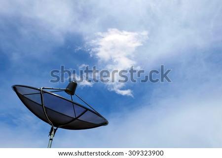 Satellite dish communication technology network with dragon cloud - stock photo
