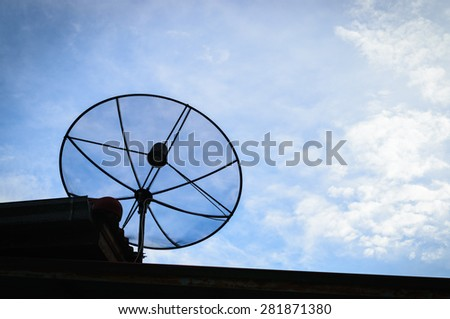 Satellite dish for communication technology on blue sky