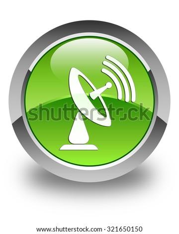Satellite dish icon glossy green round button - stock photo