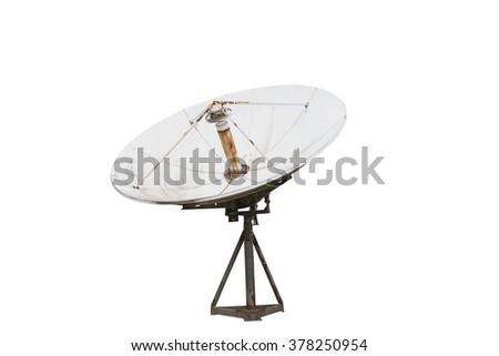 Satellite dish , Isolated on white - stock photo