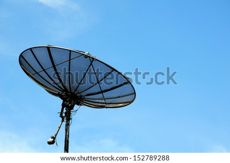 Satellite dish on a roof against a blue sky