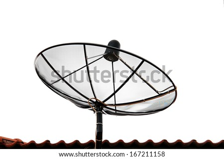 Satellite dish on a tiled roof and white background - stock photo