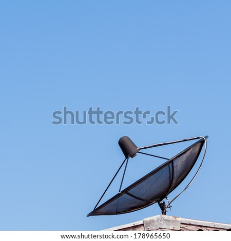 Satellite dish on blue sky ,communication technology network.