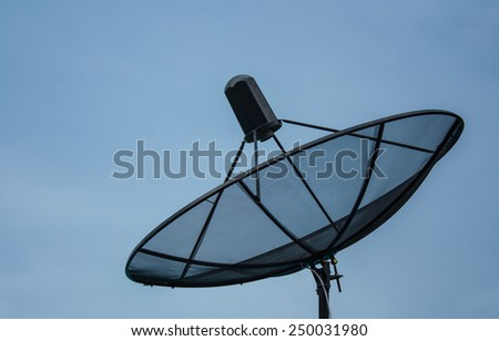 satellite dish on clear blue sky background