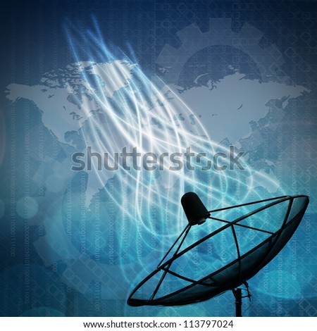 Satellite dish on global background for Communication and technology - stock photo