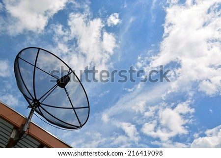 Satellite dish on roof, blue sky background