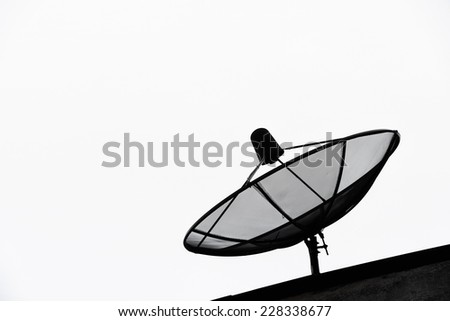 satellite dish on roof isolated on white background