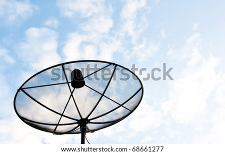 Satellite Dish on roof over morning sky background