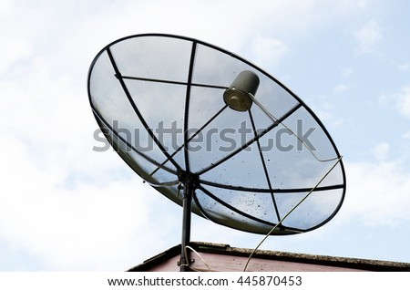 satellite dish on sky sunset communication technology
