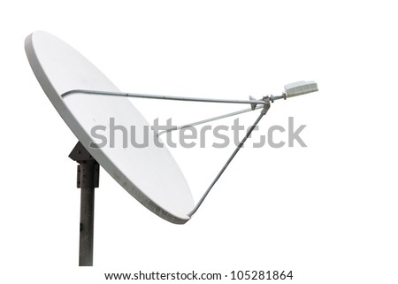 satellite dish on the white background with clipping path - stock photo