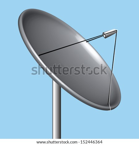 satellite dish over blue background, abstract art illustration