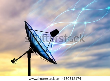 Satellite dish receiving data signal for communication - stock photo