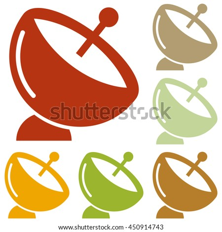 Satellite dish sign. Colorful autumn set of icons.