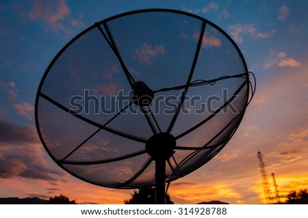 Satellite dish sky sunset communication technology network image background for design, in thailand
