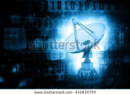 Satellite dish transmission data, 3d render. abstract tech background - stock photo