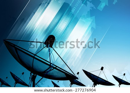 Satellite dish transmission data. digital technology blue background - stock photo